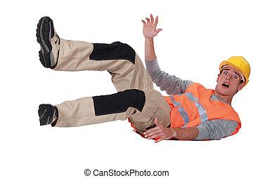 Labourer falling backwards
