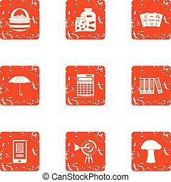 Labourer icons set, grunge style - Labourer icons set....