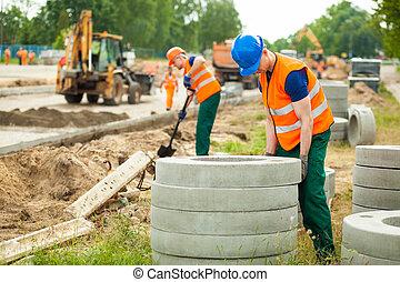 Labourer working hard