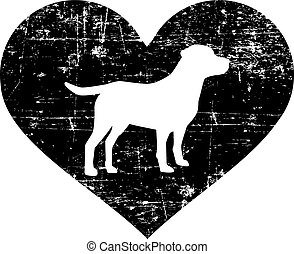Labrador in heart black and white