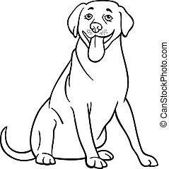 Black and White Cartoon Illustration of Funny Labrador Retriever Dog for Coloring Book