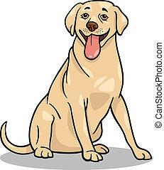 Cartoon Illustration of Funny Labrador Retriever Dog