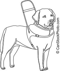Labrador retriever guide dog outline vector illustration