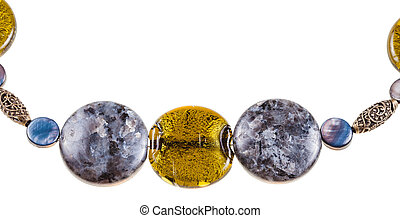 labradorite gemstone and colored glass beads