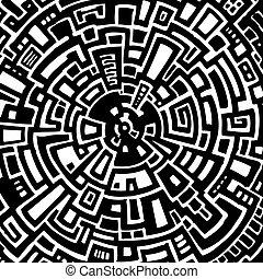 labyrint, abstrakt, vektor, illustration, cirkulär