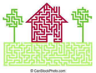 labyrint, beboelses, hus