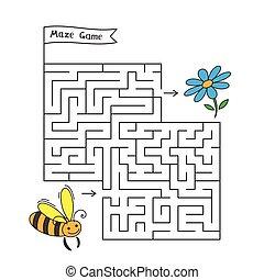 labyrint, boldspil, cartoon, bi