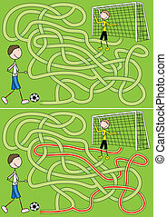labyrint, fotboll