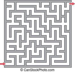 labyrint, grå, illustration, vektor