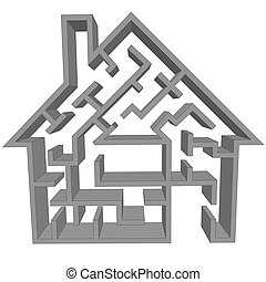 labyrint, hem, som, a, symbol, av, hus, jakt