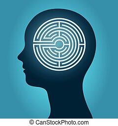 labyrint, hoofd, vrouwlijk
