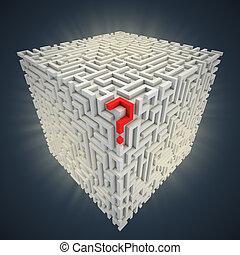 labyrint, insida, fråga, kubisk, märke
