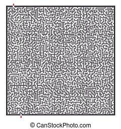 labyrint, komplex, fyrkant