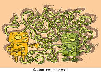 labyrint, lek, kärlek, robotarna