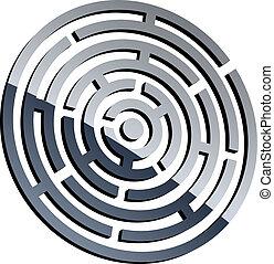 labyrint, vektor, glänsande, 3