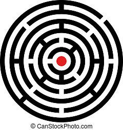 labyrint, vektor, rundat
