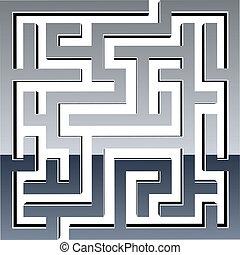 labyrint, vektor, skinnende, 3