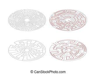 labyrinter, isometric, medium, banor, lösning, två, komplexitet, vit, runda, röd, synhåll