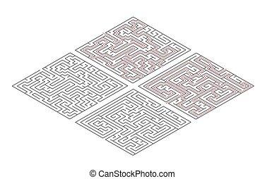 labyrinter, isometric, medium, banor, olik, två, komplexitet, vit, lösning, röd, synhåll