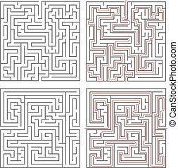 labyrinter, olik, medium, två, komplexitet, lösningar, vit