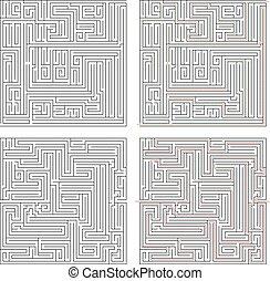 labyrinter, olik, två, hög, komplexitet, lösningar, vit