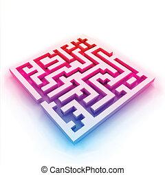 (labyrinth), ベクトル, カラフルである, 迷路