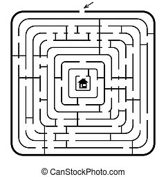 Labyrinth - A square maze - vector illustration. Easy...