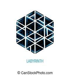 labyrinth., abstrakcyjny, tom, wektor, logo, sześciokąt