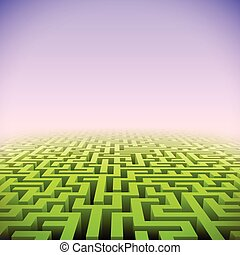 labyrinth, abstrakt, grün, perspektive