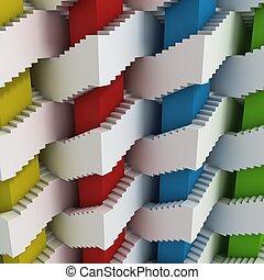 labyrinth, Abstrakt, treppe,  3D
