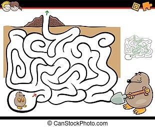 labyrinth, aktivität, mit, maulwurf