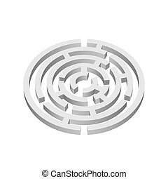 Labyrinth  - White round 3d labyrinth on white background
