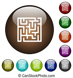 Labyrinth color glass buttons