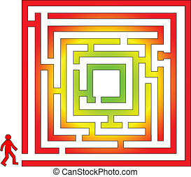Color labyrinth with man . Abstract illustration