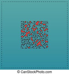 Labyrinth computer symbol - Labyrinth Red vector icon with...