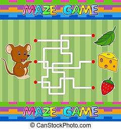 labyrinth., crianças, achar, cheese., labirinto, jogo, direita, ajuda, rato, caminho