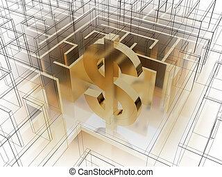labyrinth, dollar, gold, zeichen