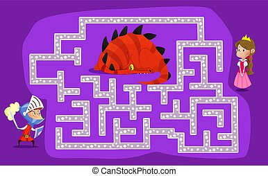 Labyrinth for children. The knight must find a way