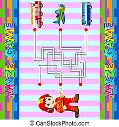 labyrinth., gosses, brûler, trouver, labyrinthe, jeu, pompier, droit, aide, truck., sentier