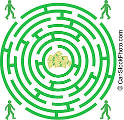 Green labyrinth with piople and money