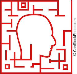 Labyrinth - Human head in a labyrinth on a white background