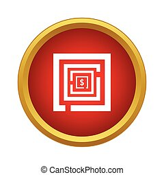 Labyrinth icon in simple style