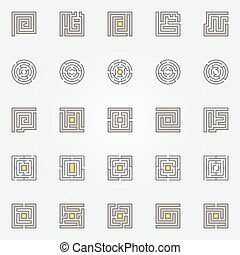 Labyrinth icons set