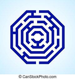 Labyrinth - Illustration of blue labyrinth in octangle shape...