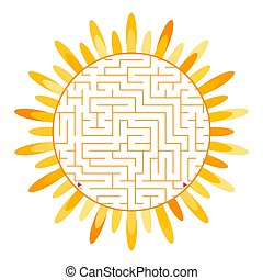 Labyrinth in the form of an abstract flower silhouette. Simple flat vector illustration isolated on white background.