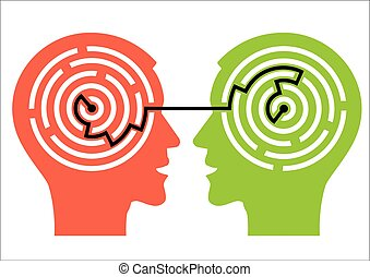 Two male head silhouettes with maze symbolizing psychological processes of understanding. Vector illustration.
