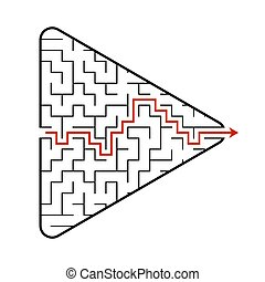 Labyrinth in the shape of an arrow. Game for kids. Puzzle for children. Find the right path. Maze conundrum. Flat vector illustration isolated on white background. With answer.