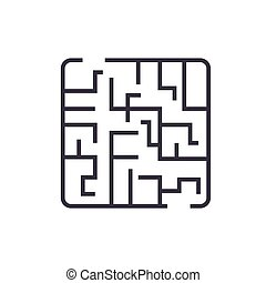 labyrinth linear icon, sign, symbol, vector on isolated background