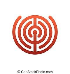 Labyrinth logo. maze emblem for company. Business template sign