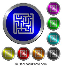 Labyrinth luminous coin-like round color buttons
